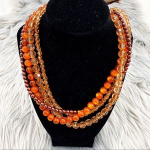 Twentyone Beads Brown Tone Layered Necklace